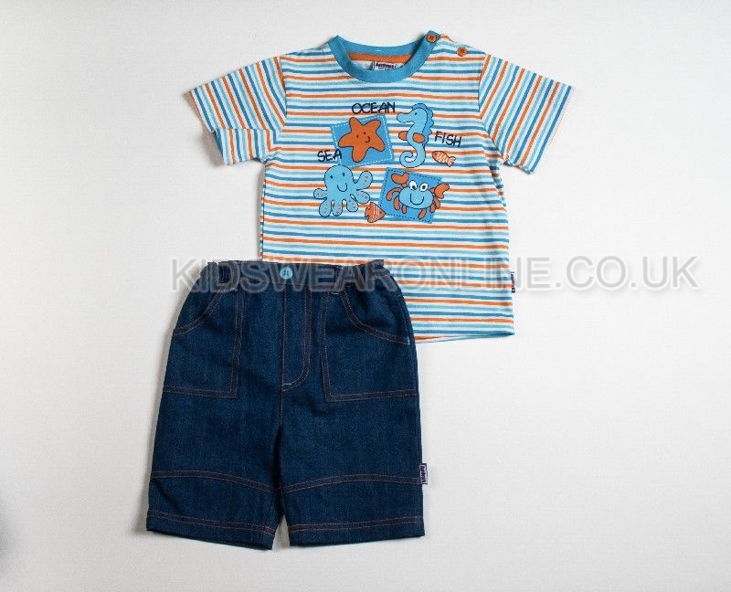 Boys Tshirt And Denim Short Set Ocean