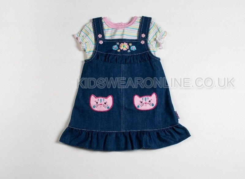 Baby Girls Denim Dress And Stripe Tshirt Set