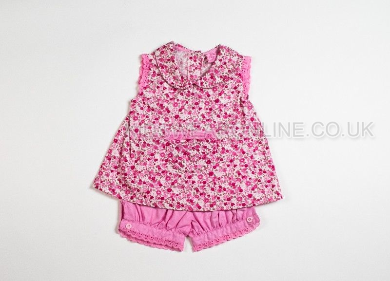 Baby Ditsy Flower Print  Top And Bloomer Shorts