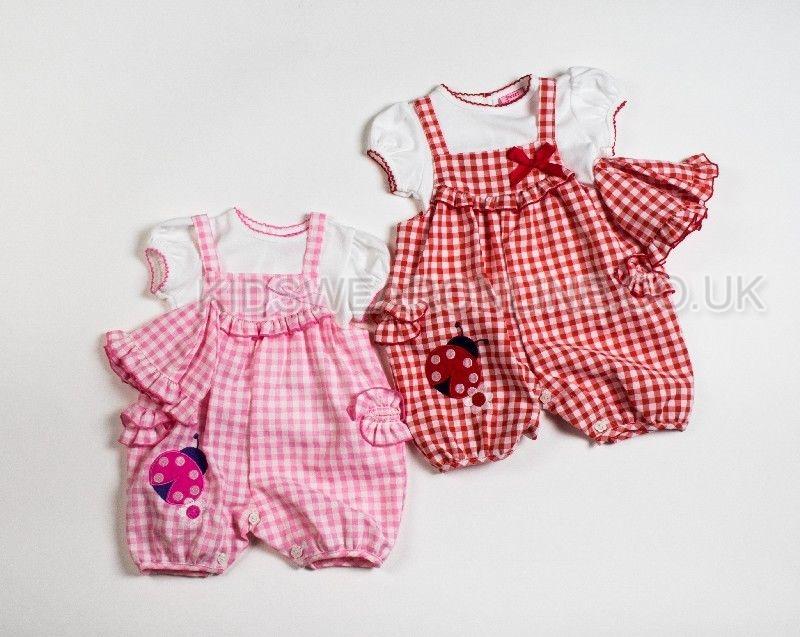 Baby Girls 3pc Set Dungaree Tshirt And Hat