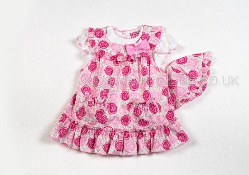Baby Girls 3pc Set Dress  Thshirt And Cap Rose Print