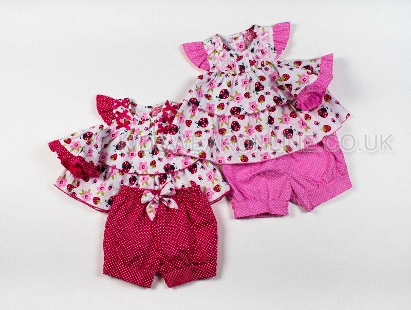 Baby Girls Woven 3pc Set Tunic Shorts And Cap