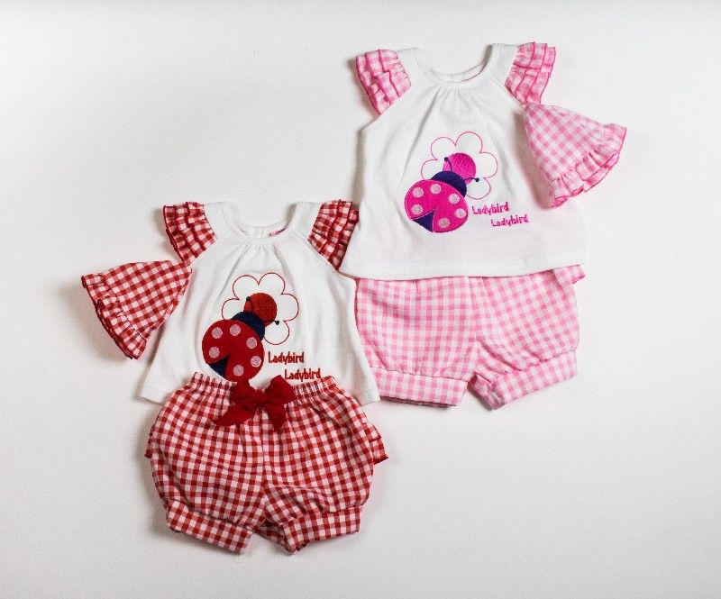 Baby Girls Woven 3pc Set Gingham Tshirt Shorts And Cap