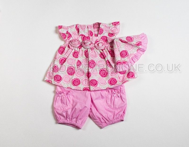 Baby Girls Woven 3pc Set Tunic Shorts And Cap With Rose Print