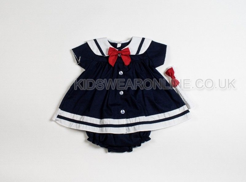 Baby Girls Sailor Dress Pant And Headband Navy