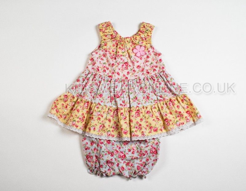 Baby Girls Pastel Tiered Dress With 3 D Flower