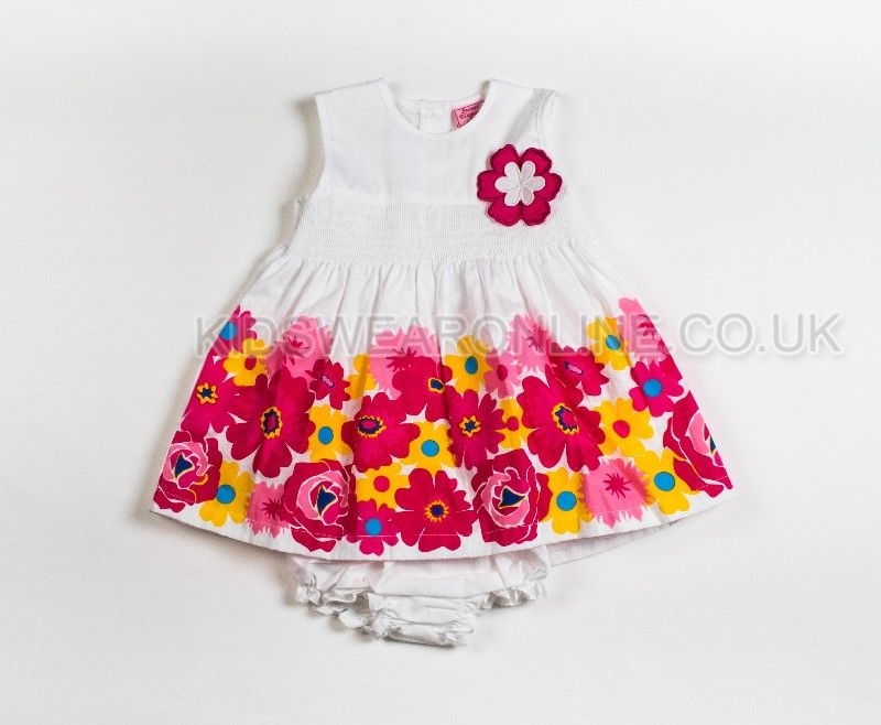 Baby Girls 2pc Smocked Dress With Border Print
