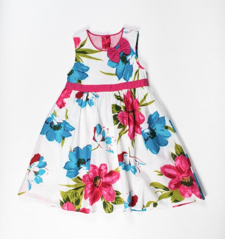 Girls All Over White Floral Print Dress With Bow