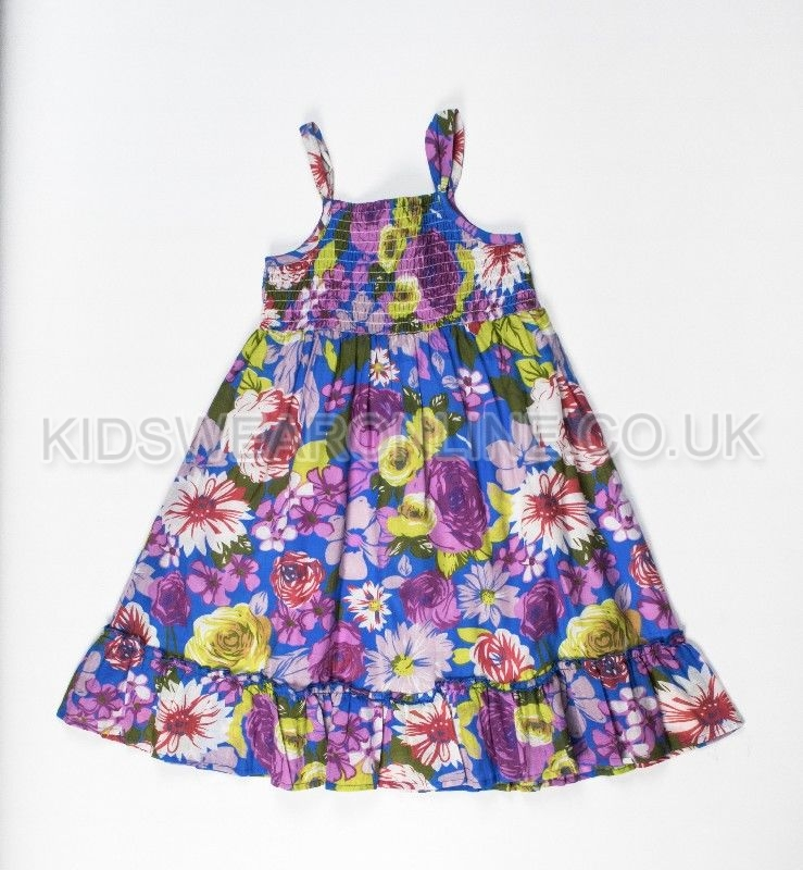 Girls All Over Purple Floral Print Dress With Smocking