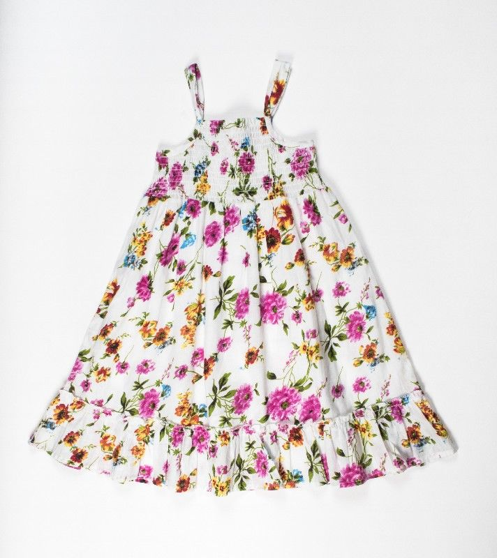 Girls All Over White Floral Print Dress With Smocking
