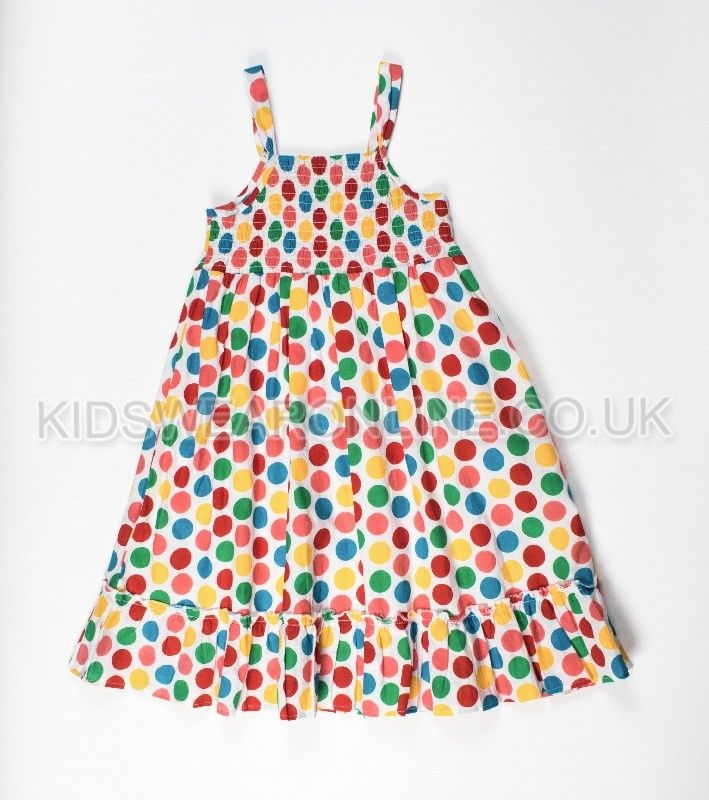 Girls Spotted Print Dress With Smocking