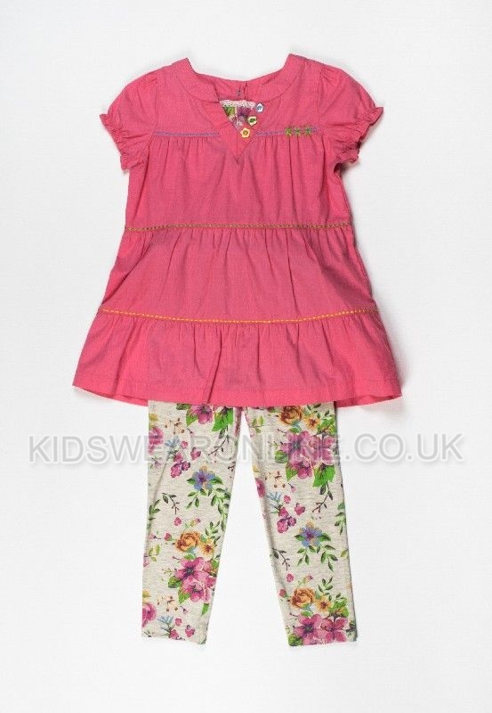 Girls Peach Tunic And Floral Legging Set