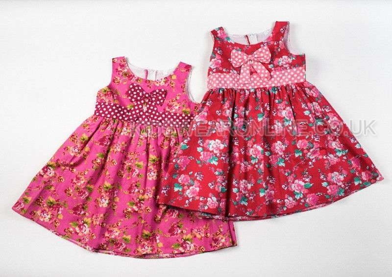 Girls Vintage Floral Pink Dress With Spotted Bow