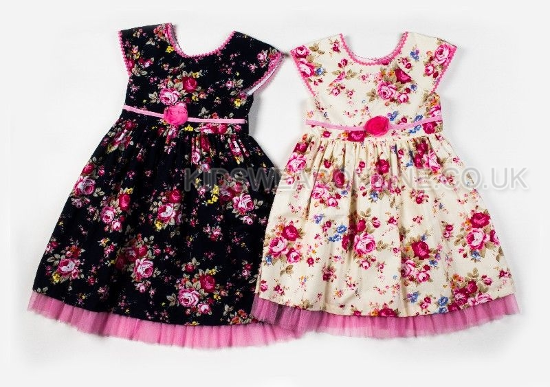 Girls Vintage Floral Print Dress With Net Hem
