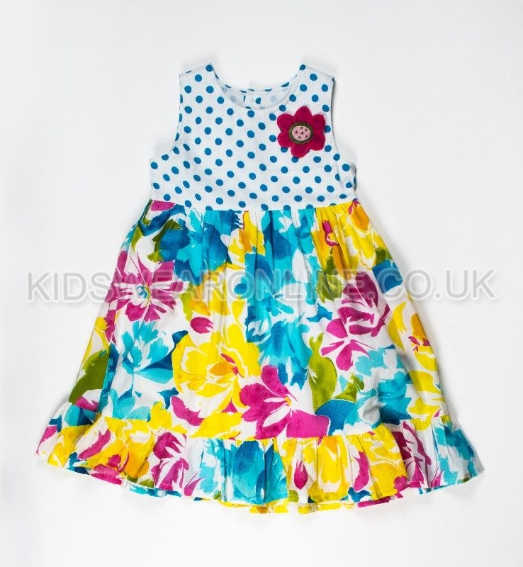 Girls Fashion Dress With Spots And Print