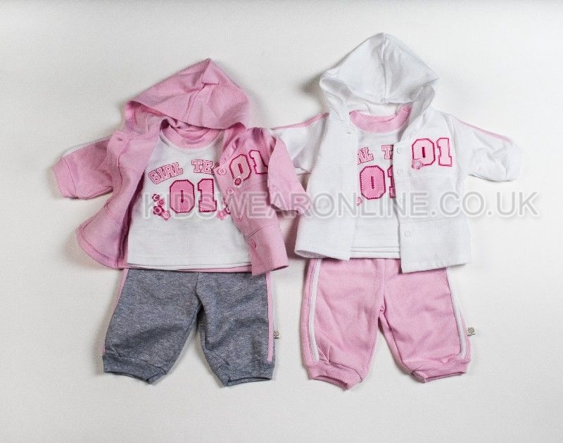Baby Sporty Hooded Jacket Tshirt And Trouser Set