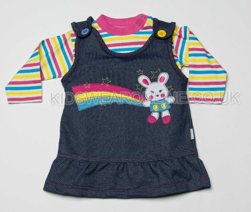 Baby Knitted Denim Look Pinafore With Tshirt