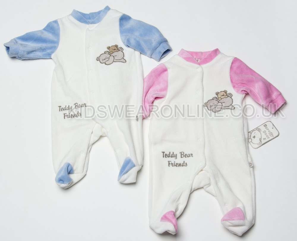 Baby Velour Sleepsuit Teddy Bear Freinds.