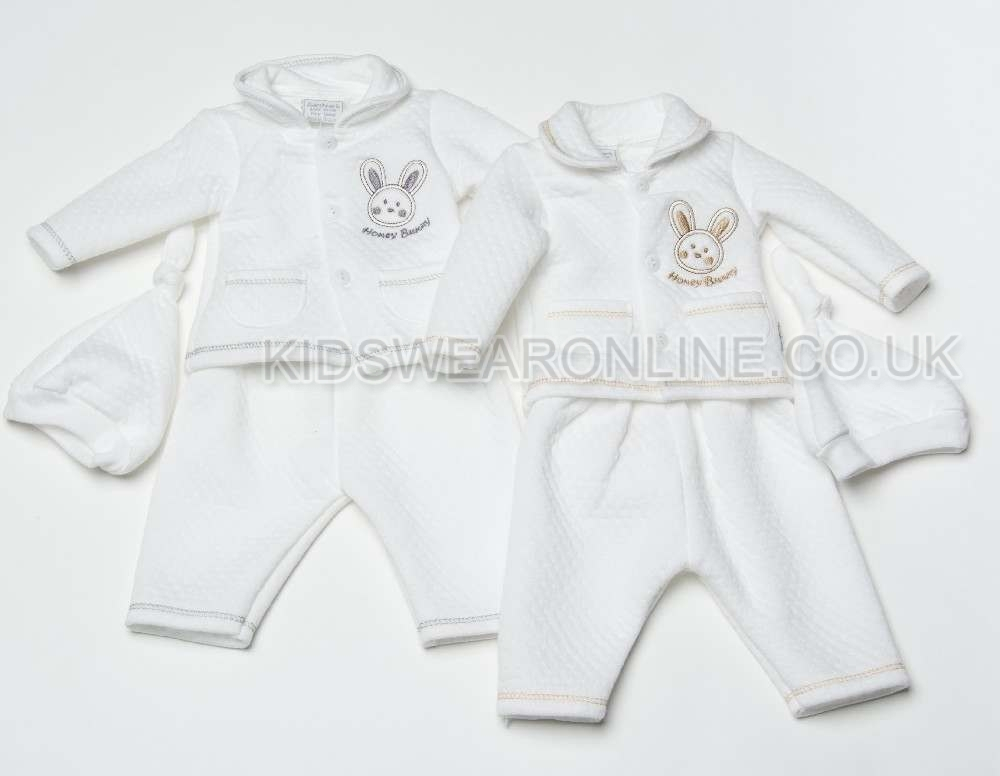 Baby Quilted Top And Trouser Set With Hat