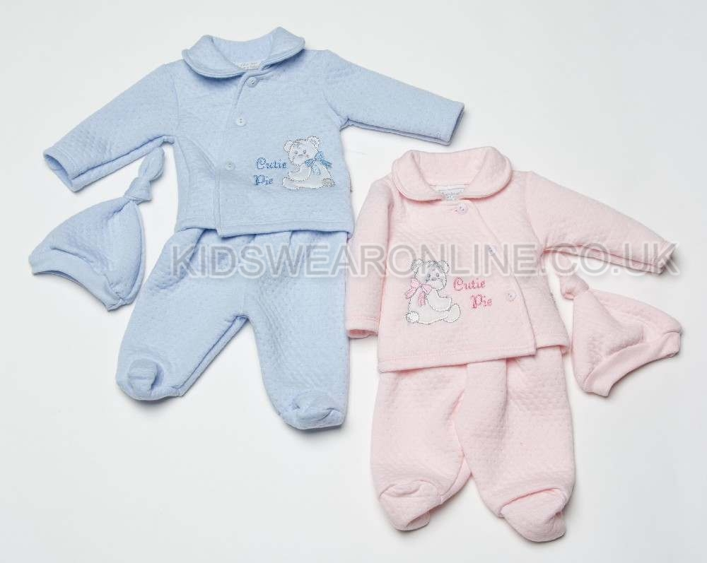 Baby Quilted Top And Trouser Set With Hat Cutie Pie