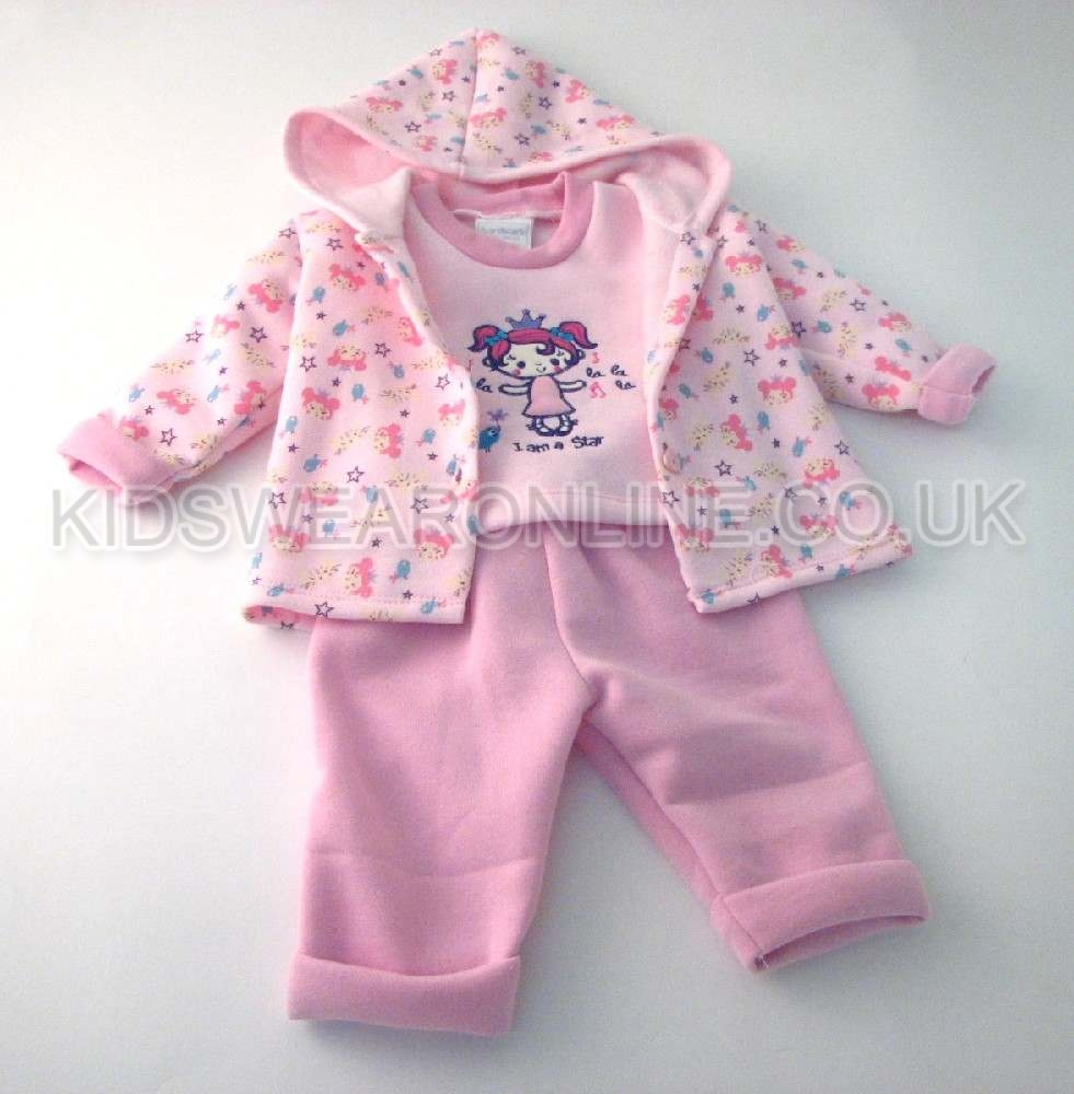 Baby Girls 3pc Jacket Top And Trouser Set