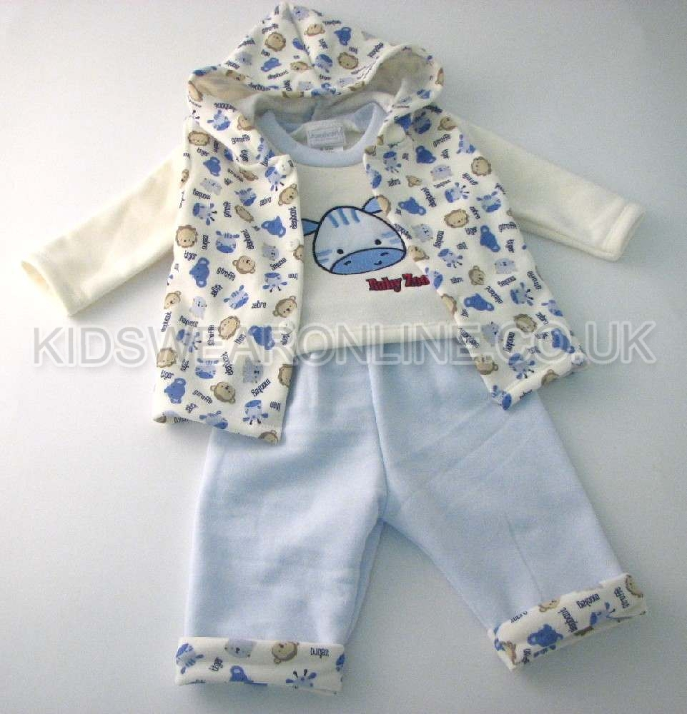 Baby Boys 3pc Set With Gillet Top And Trouser Baby Zoo