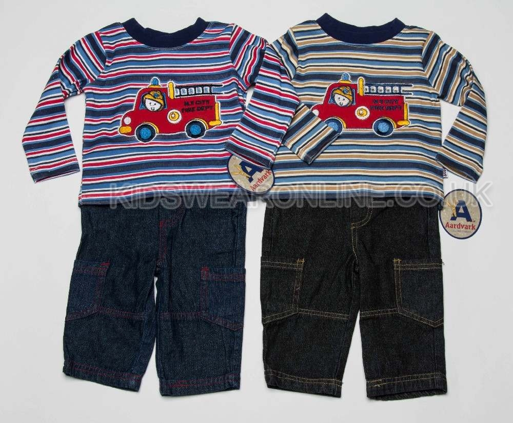 Baby Boys Top And Jeans Fire Engine