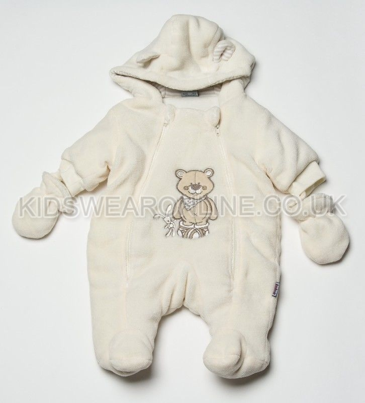Baby Snowsuit With Hood Mitts And Feet Fluffy Buddies