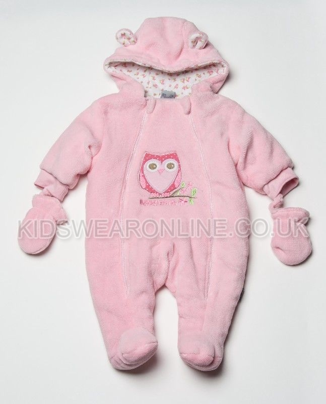 Baby Snowsuit With Hood Mitts And Feet Owl