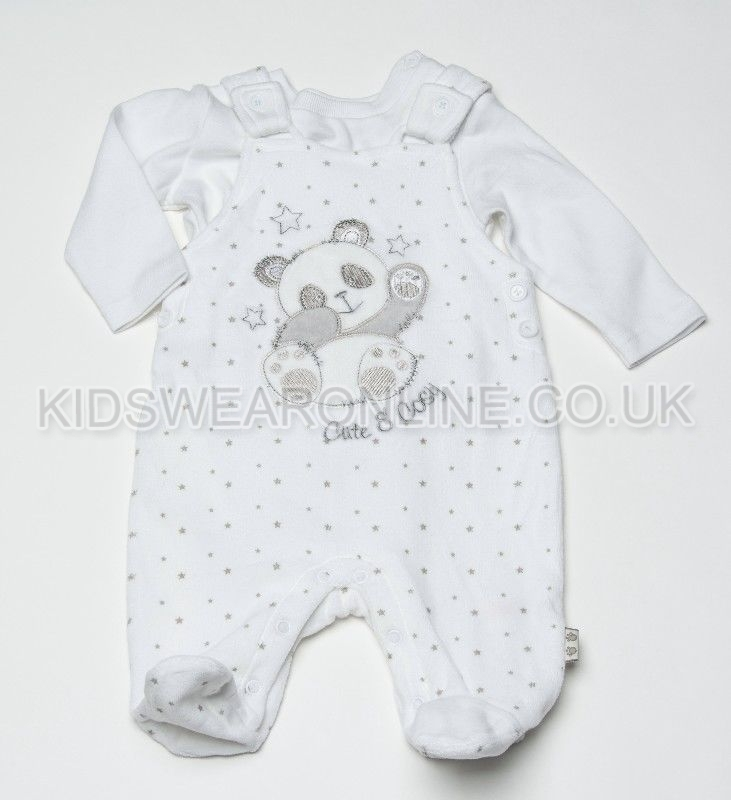 Baby Velour Pc Dungaree Set Panda