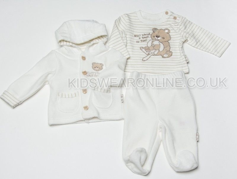Baby Velour 3pc Jacket Set Fluffy Buddies