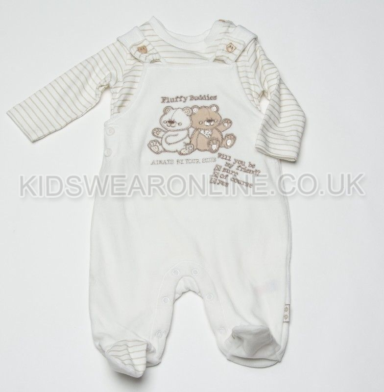 Baby Velour Pc Dungaree Set Fluffy Buddies