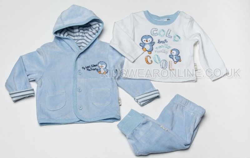 Baby Velour 3pc Jacket Set Frosty