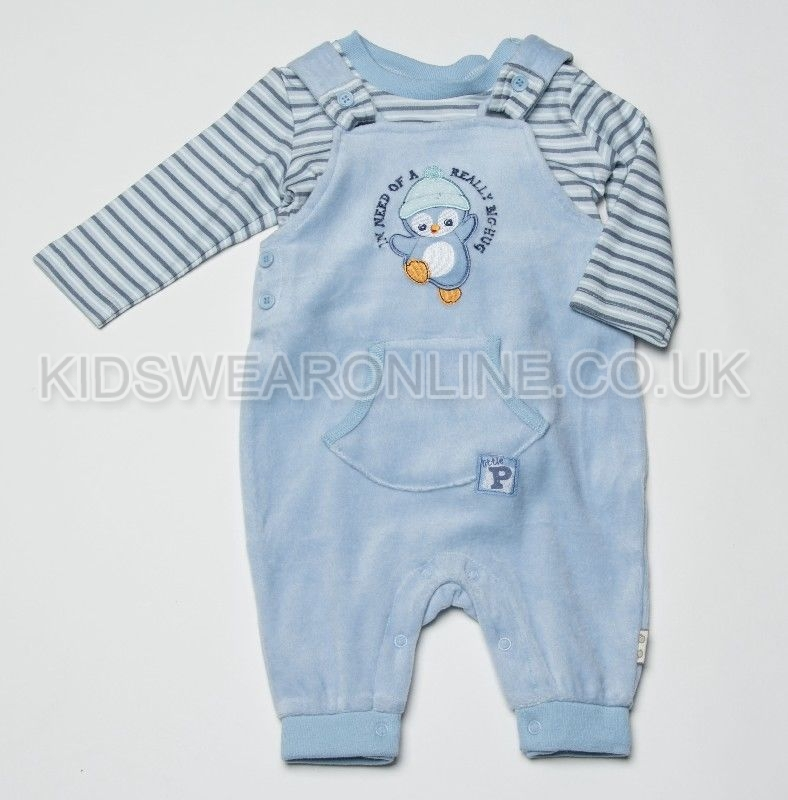 Baby Velour Pc Dungaree Set Frosty