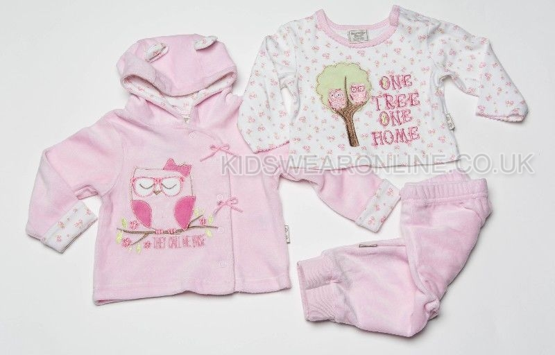 Baby Velour 3pc Jacket Set Owl