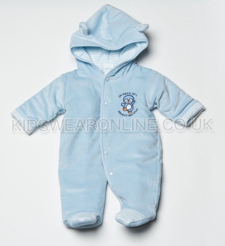Velour Padded Pramsuit Penguin