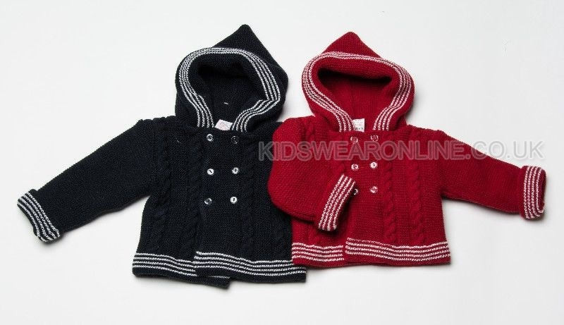 Baby Double Knit Hooded Jacket With Cable Knit