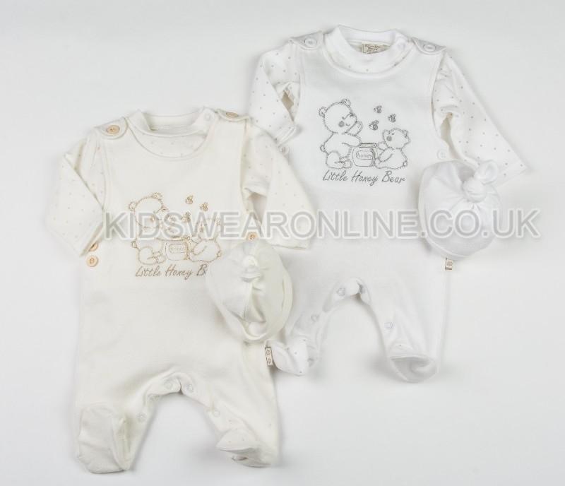 Baby Dungaree With Long Sleeve Tshirt And Cap Honey Bear