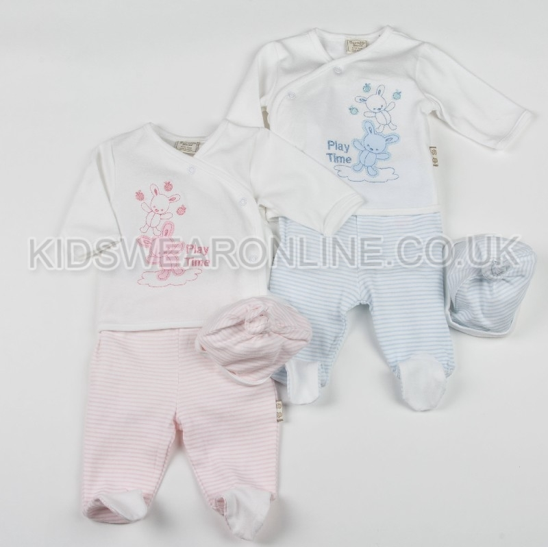 Baby 3pc Set With Long Sleeve Top Trousers And Cap Play Time