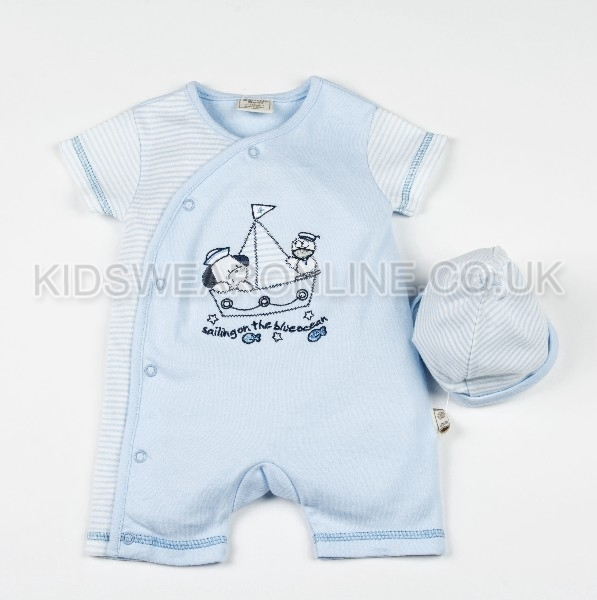 Baby Romper With Cap Puppy Sailing
