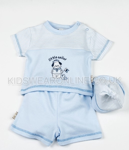 Baby 3pc Set With Tshirt Shorts And Cap Little Sailor