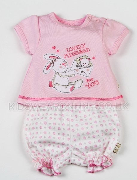 Baby Girls 2pc Set With Tshirt And Bloomer Shorts Lovely Message