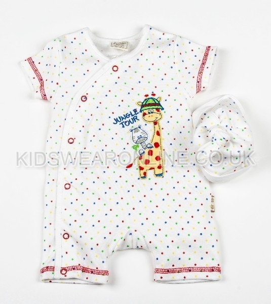 Baby 2pc Set Romper With Cap Multi Spot Jungle Tour