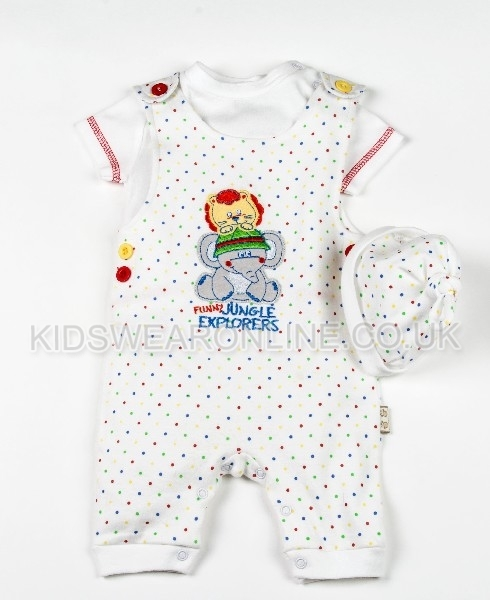 Baby Multi Spot 3 Pc Set With Dungaree Long Sleeve Top And Cap