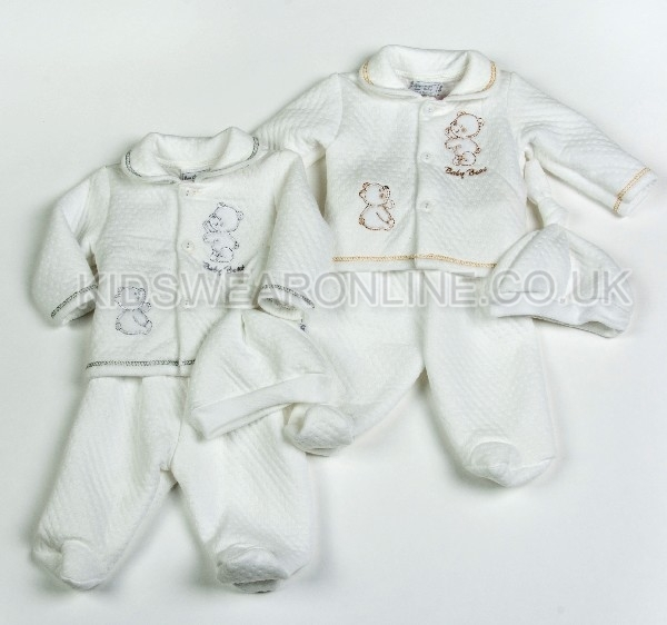 Baby Quilted Jacquard 3pc Set Top Trousers And Cap Baby Bear