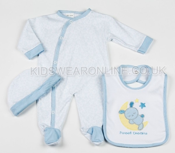 Baby 3pc Layette Set Blue Sweet Dreams