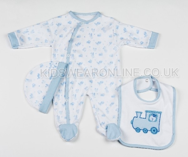3 Pc Baby Layette Set Blue Train