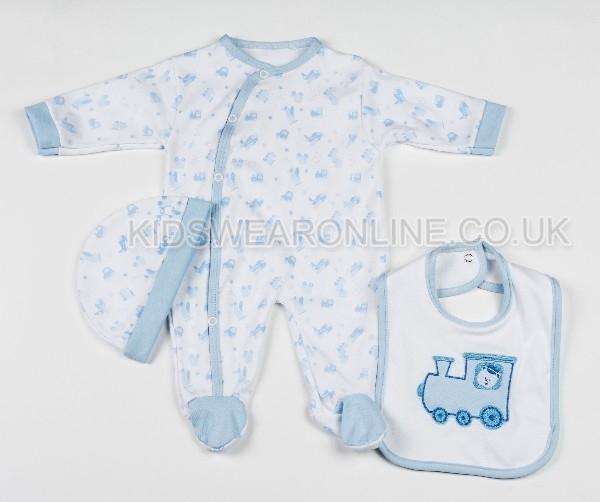 3 Pc Baby Layette Set Blue Train