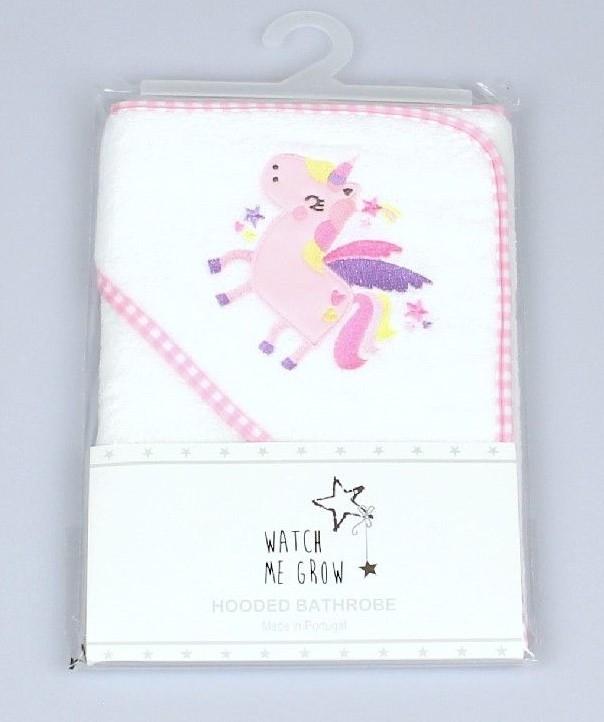 Baby Hooded Robe, Unicorn Embroidery