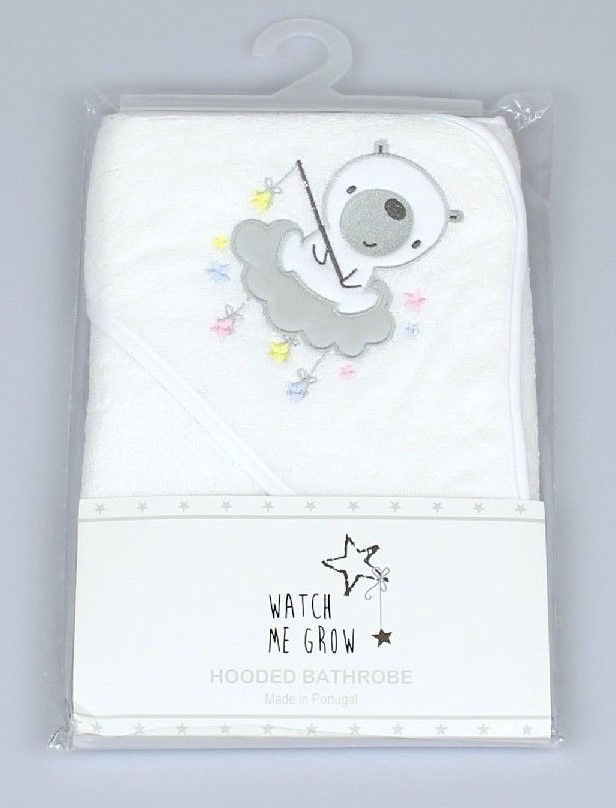 Baby Hooded Robe, Bear On Cloud Embroidery